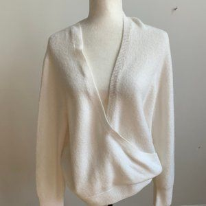 Madewell wrap front Ivory BNWT sweater sz L NEW